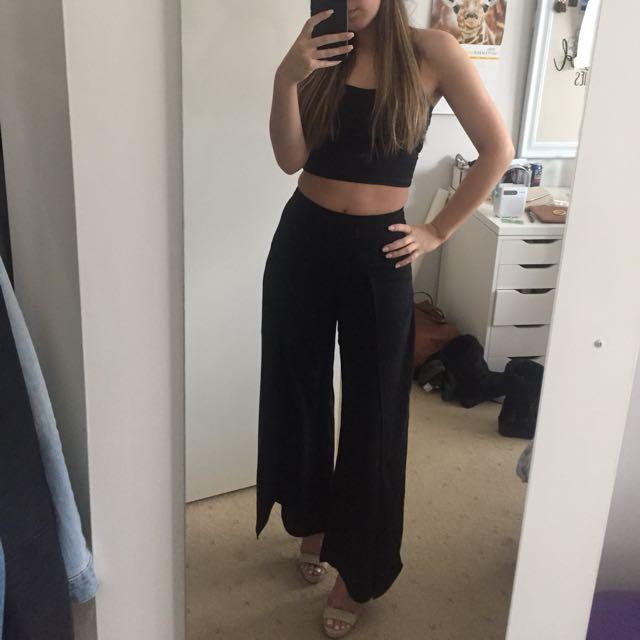 Bardot slide split black dress pants