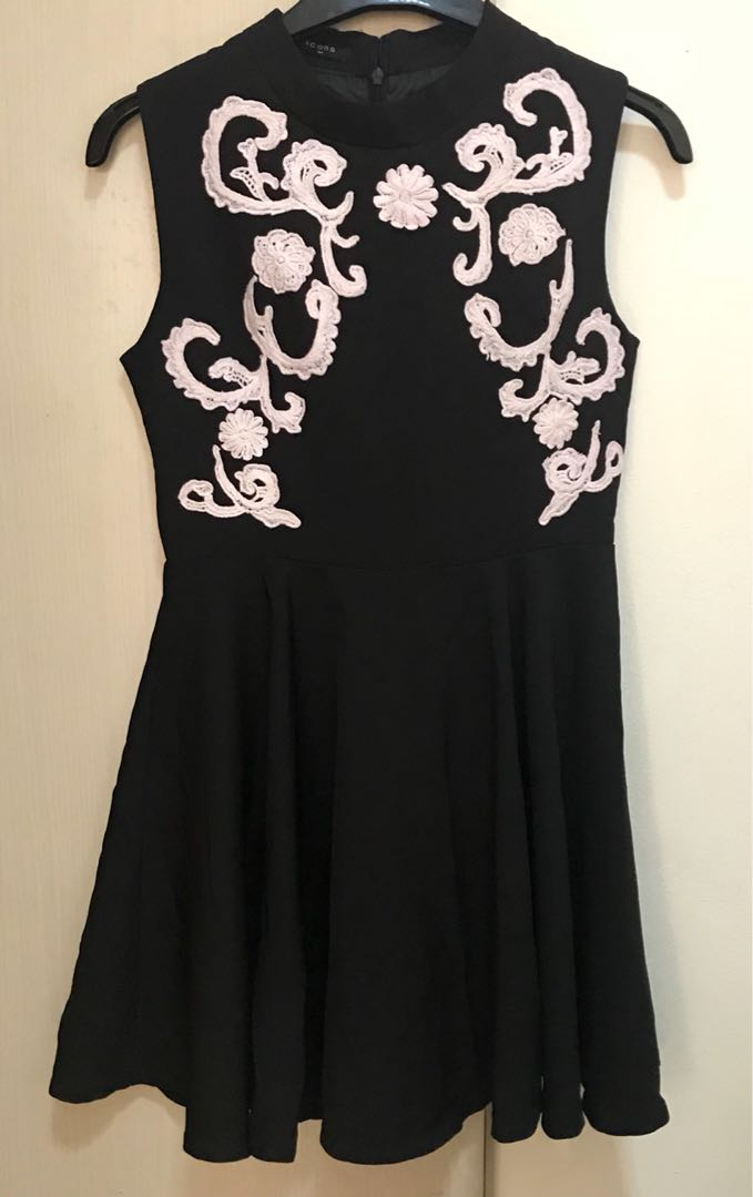 black and white embroidery dress
