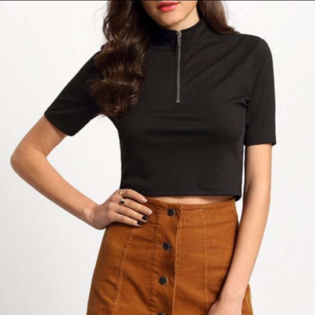 Black Crop with Front Zip