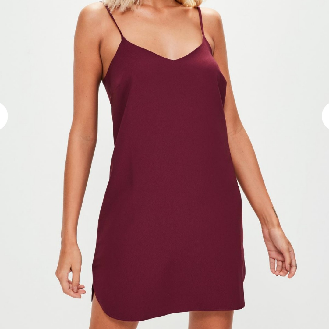 Burgundy cami crepe shift dress