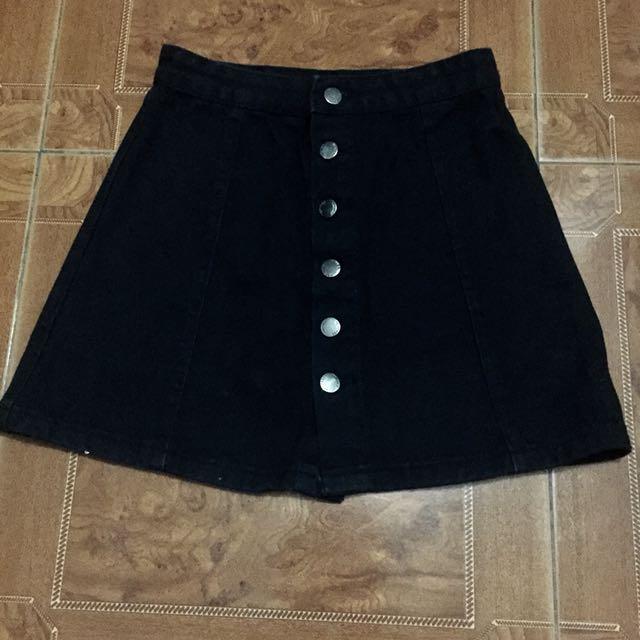Button down black denim skirt