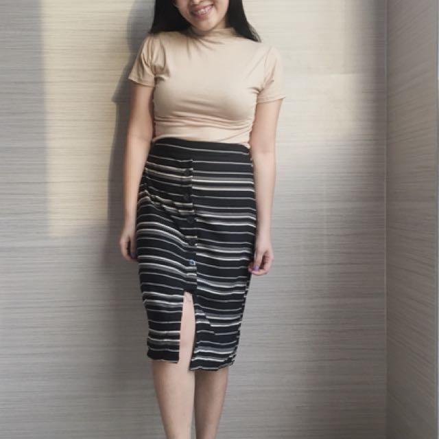 Buttondown stripe skirt
