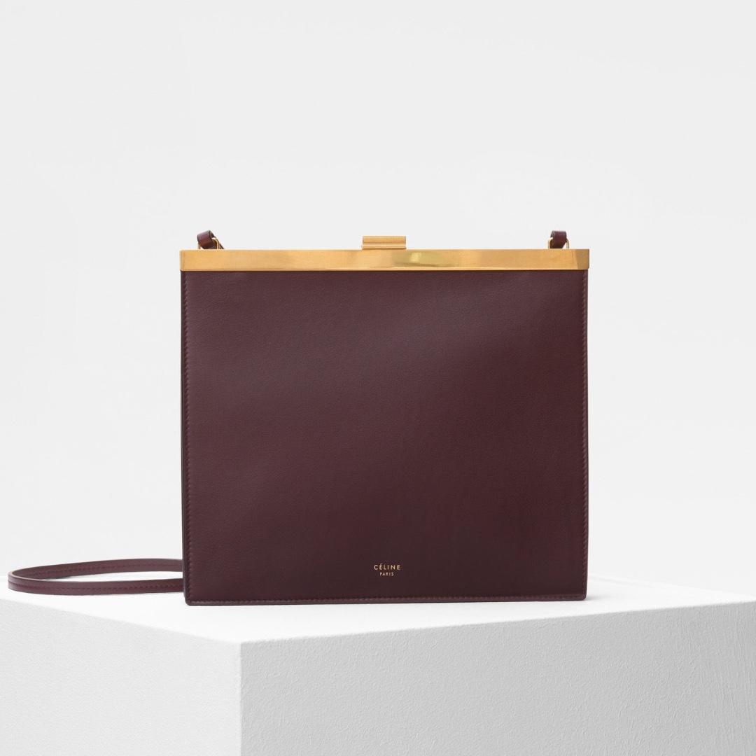 8e77b4400a70 Celine Mini Clasp Bag in Bordeaux Smooth Calfskin