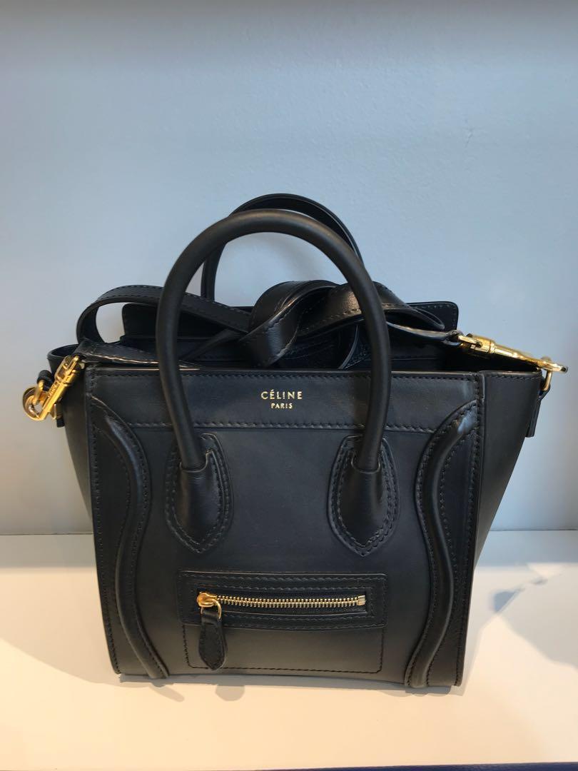 Celine nano black smooth leather