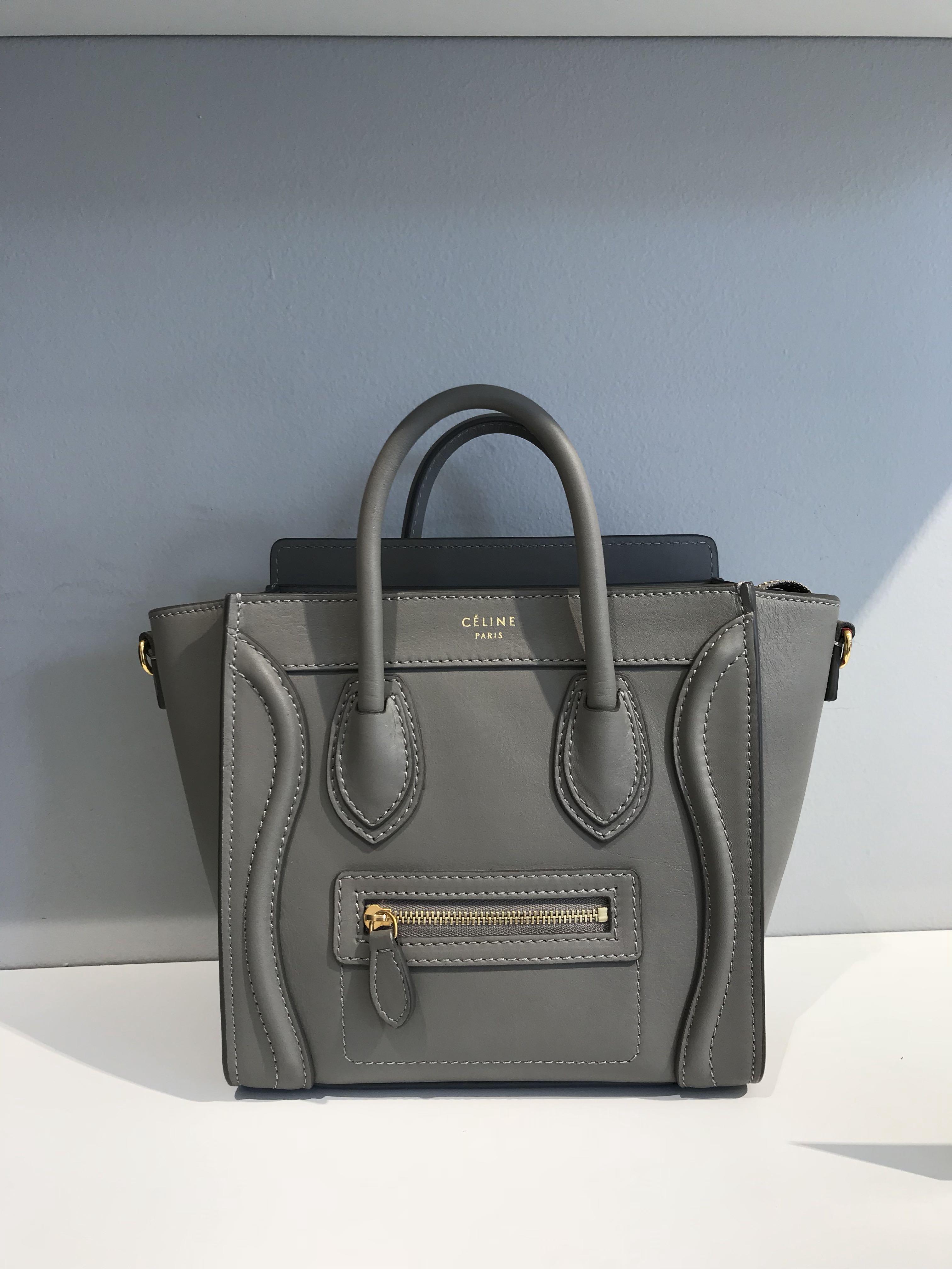 Celine nano lugage Smooth leather grey