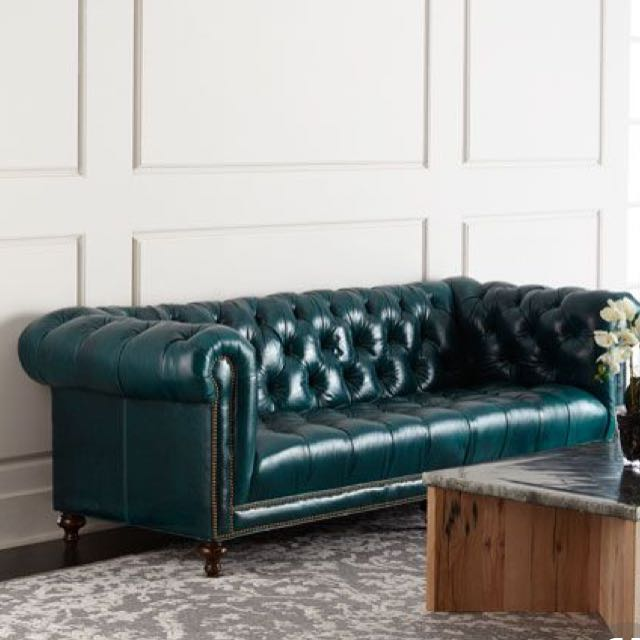 Chesterfield Sofa emerald green, Furniture, Sofas on Carousell