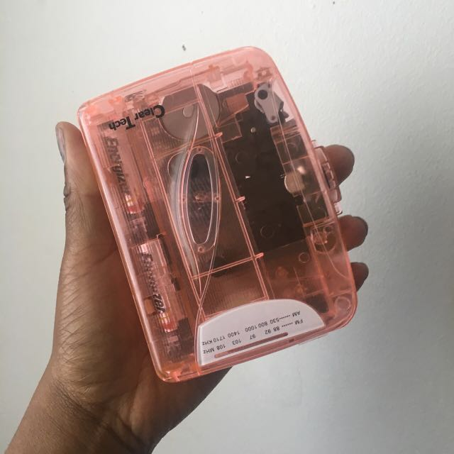 Clear Pink Cassette Player