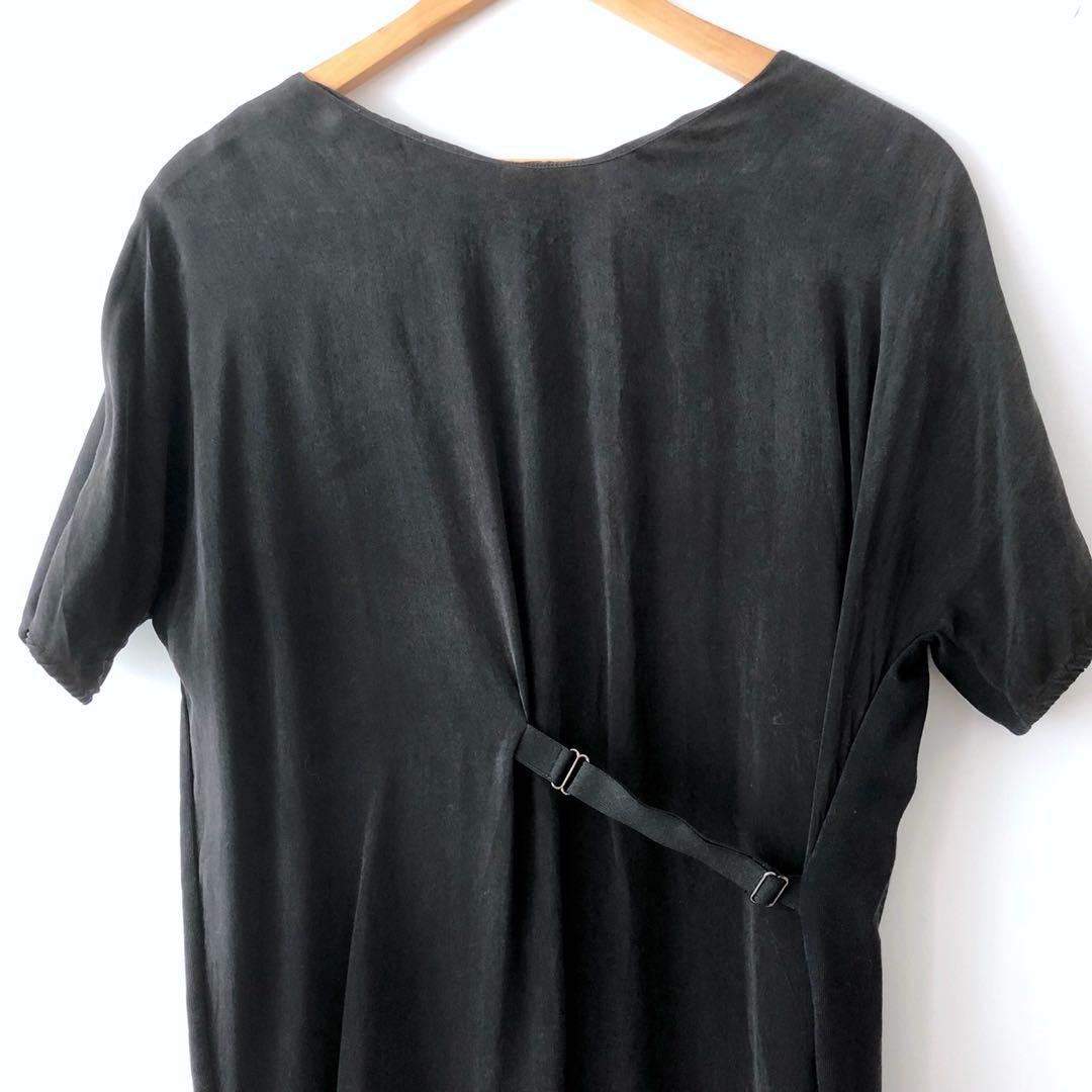 Cos minimalist oversized tshirt dress in black silk and cotton
