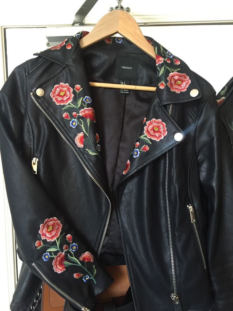 Flower embroidered pleather jacket