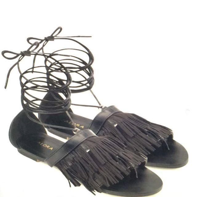 Fringe Lace Up Sandals