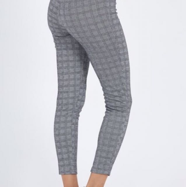 Grey check leggin