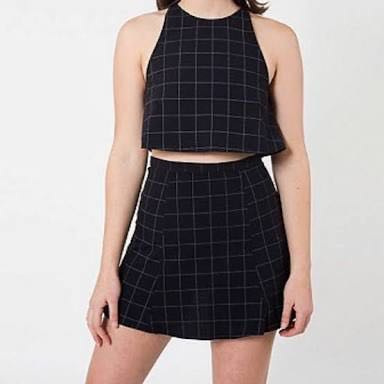 Grid set by American Apparel - matching top and skirt in black and white