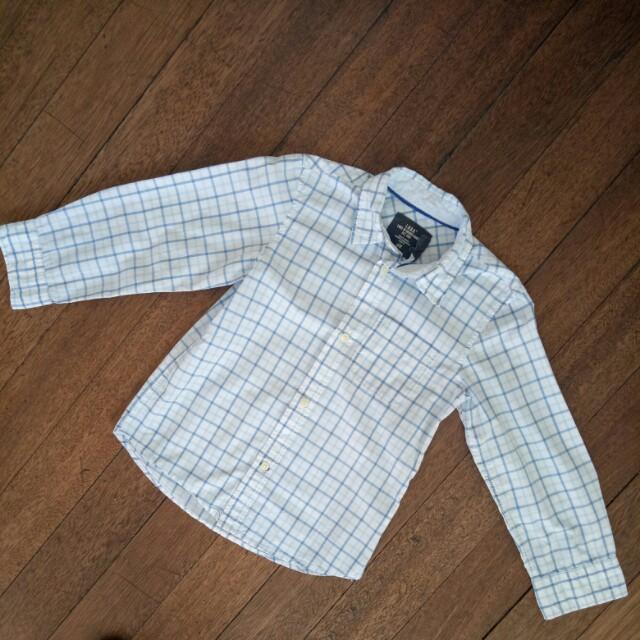 H&M Blue Checkered Long Sleeve Polo
