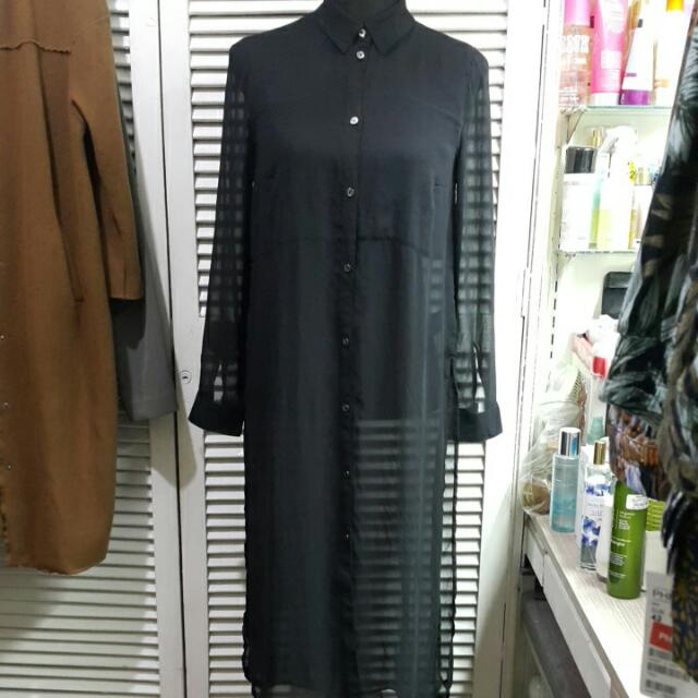 H&M Divided Sheer Black Longline Button Down With Slits