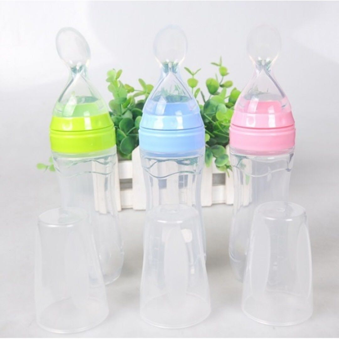 Baby Kids Infant Silicone Feeding With Spoon Feeder Food Rice Cereal Bottle New