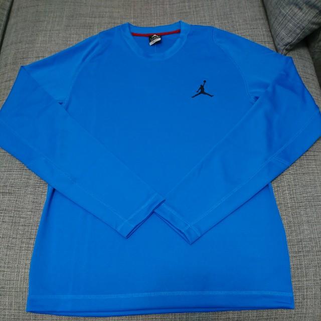 Jordan 吸濕排汗長袖圓領T  藍