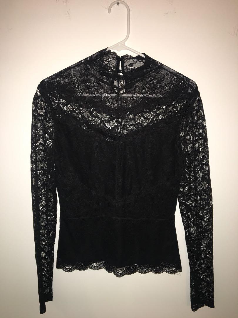 Log sleeve lace shirt