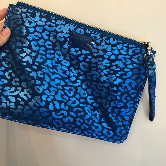 83878cbb2c80 Maje blue metallic leopard print clutch, Women's Fashion, Bags ...