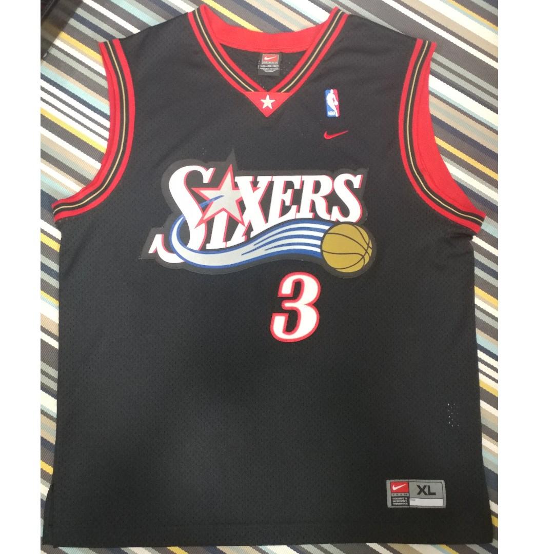 the latest 0692f de460 Nike Allen Iverson Philadelphia 76ers Swingman Jersey sz XL jordan kobe  james curry nba