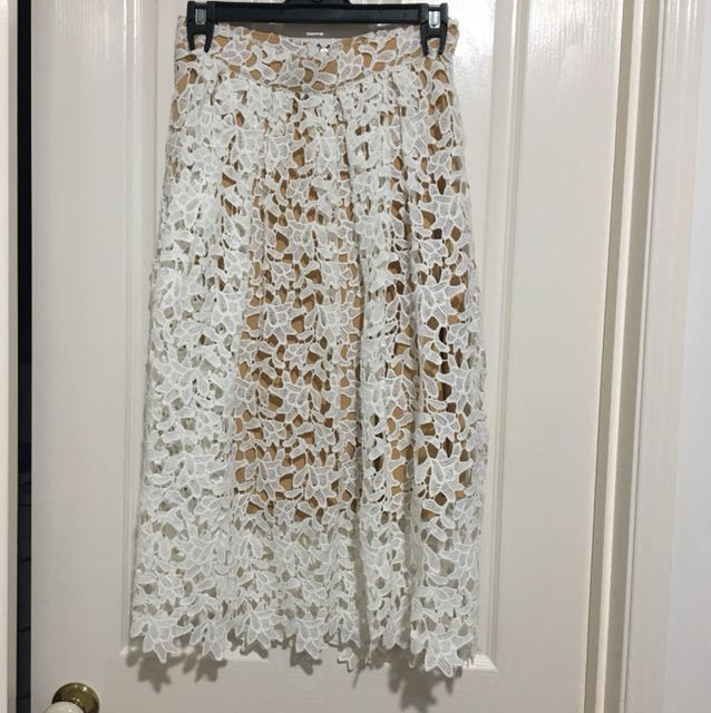 Nude lace midi skirt