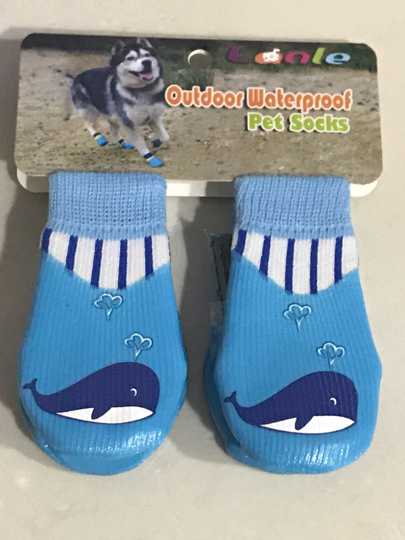 Outdoor Waterproof Pet Socks (Blue Whale Design) d33e2decbaf9