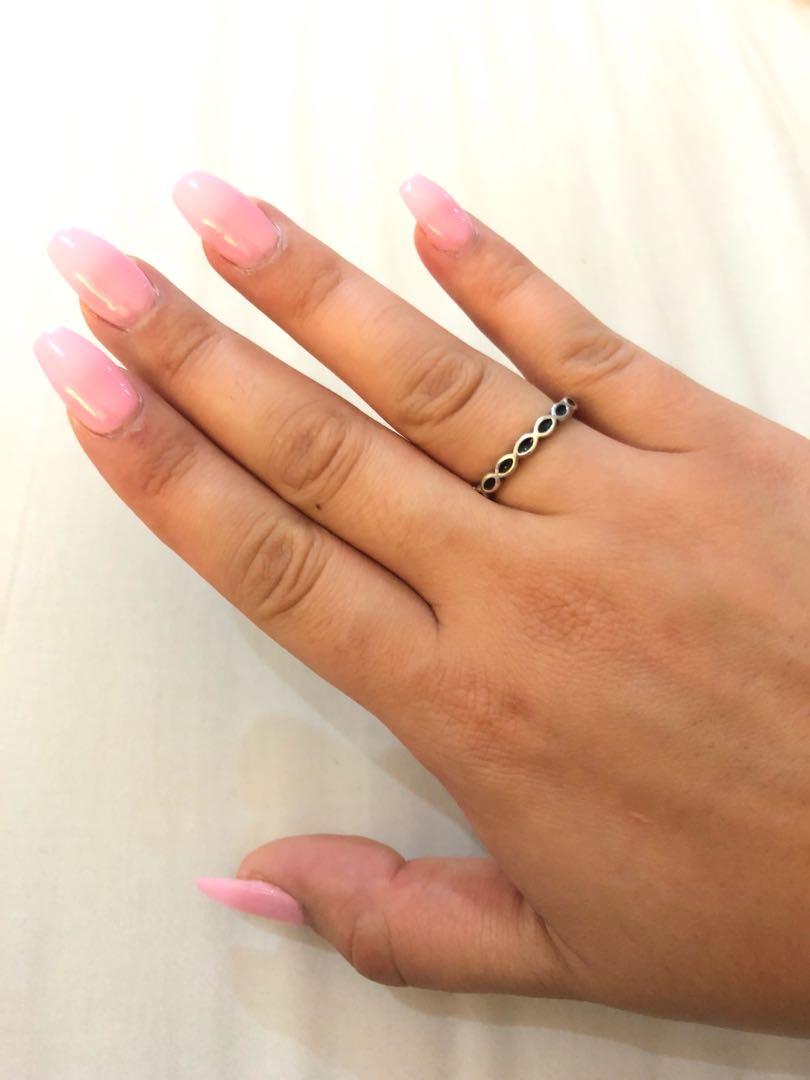 Pandora Black enamel ring size 52