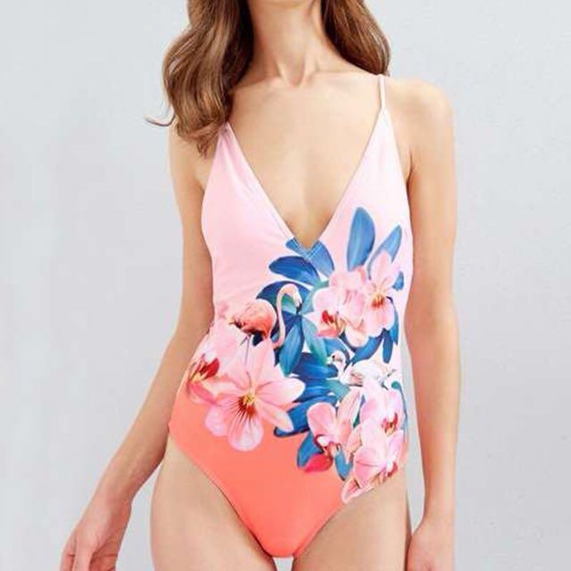 Pink Floral One-piece Swimwear