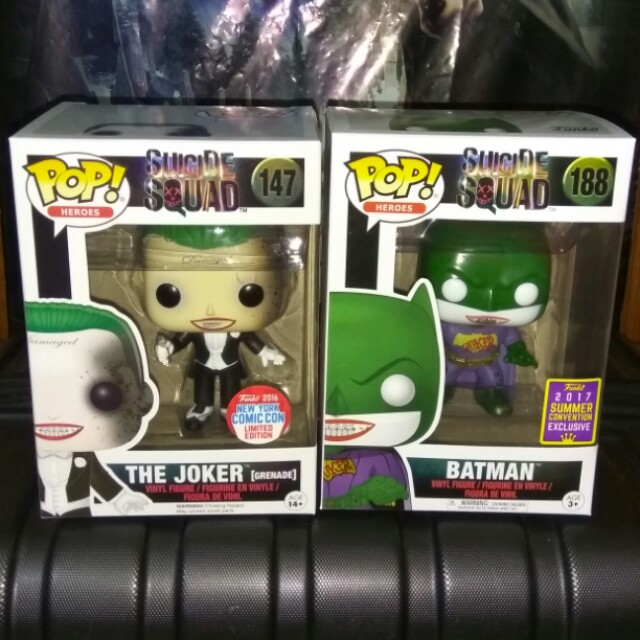 (ON HAND) Grenade Joker and Joker Batman DC Super Heroes Funko Pop Bundle