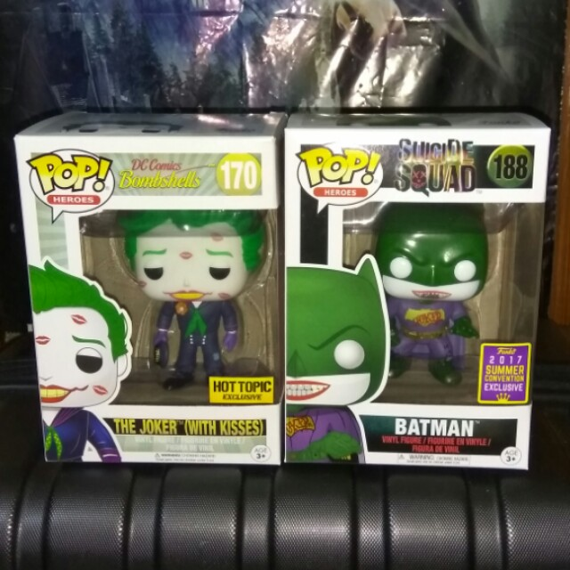 (ON HAND) Joker with Kisses and Joker Batman DC Super Heroes Funko Pop Bundle