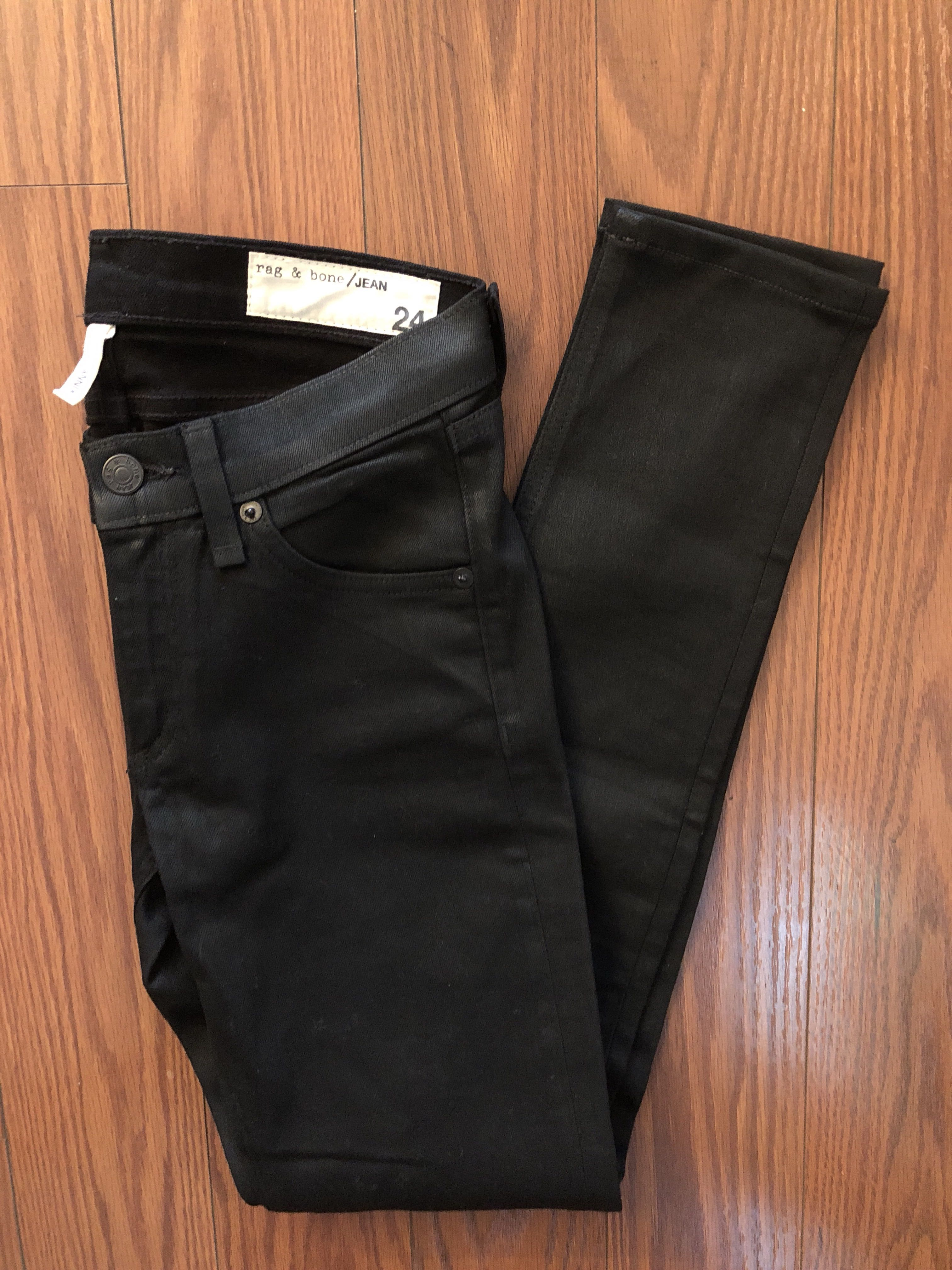 Rag&Bone Black Coated Denim Skinny Size 24