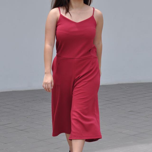 Red Culottes Jumpsuit (SALE!!!)