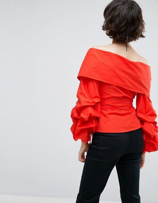Red wrap around top blouse puff sleeves ASOS WHITE label