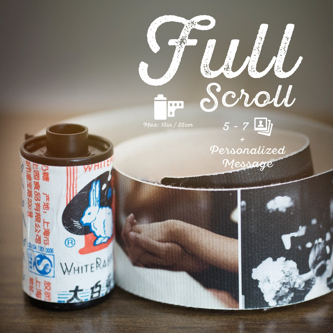 """Retro Series Personalized Scroll """"Cards"""" with your own Photos & Message. Made from real analog films and authentic snack and sweet wrappers"""