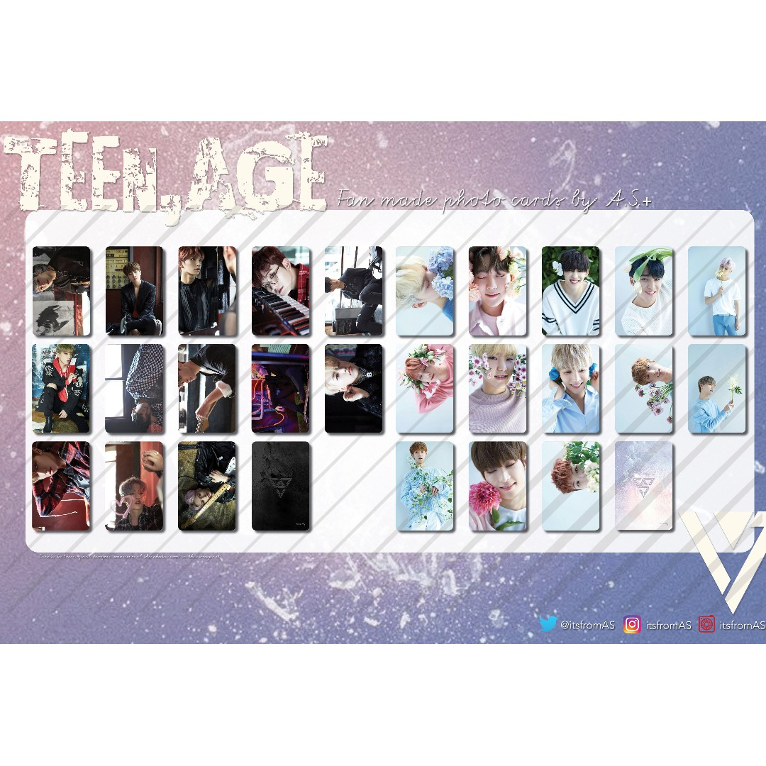 Seventeen Teen, Age Flower and Teen, Age Rock Photo Cards Unofficial
