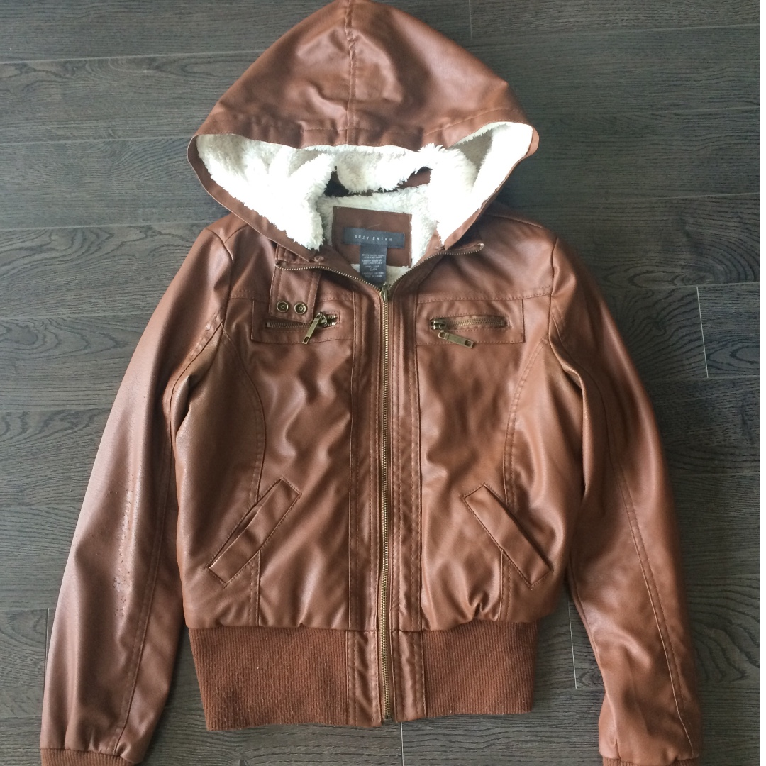 Size Small Tan Faux Leather Jacket