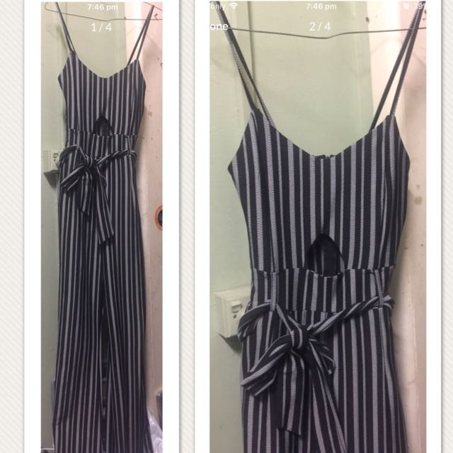 Stripey Black/Grey - Missguided Jumpsuit - size 10-12