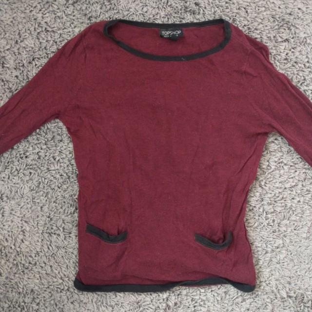Topshop burgundy 3/4 sleeve top