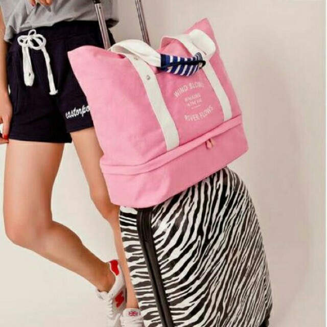 Travel tote bag with compartment (pink)