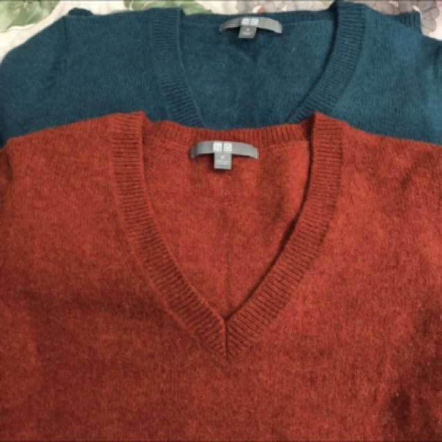 UNI QLO 混羊毛彈性V領毛衣