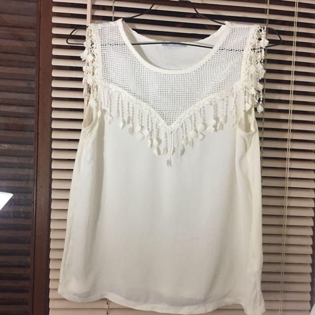 Zara - White cotton top