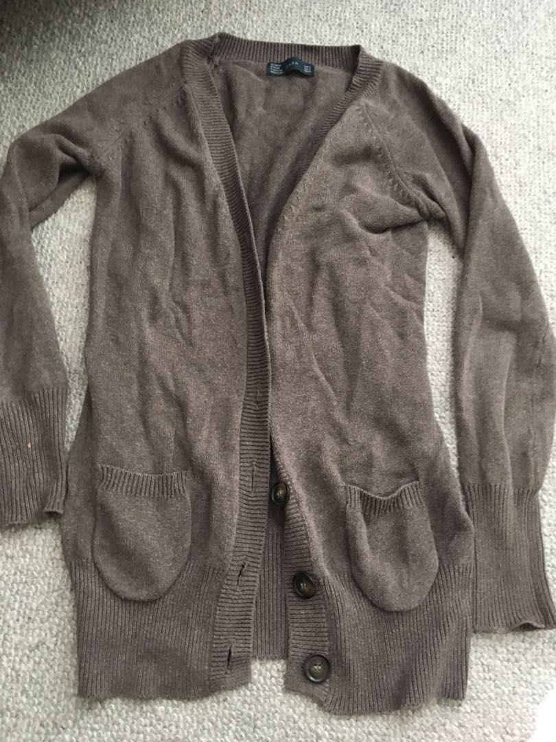 Zara Long Cardigan w Pockets Sz S