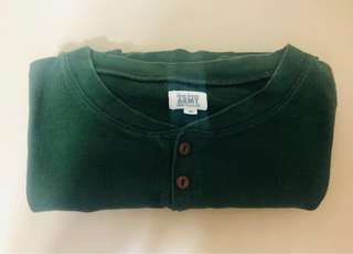 Army Long Sleeved Tee Green with Badge
