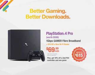 Lag-Free Gaming Fibre with FREE PS4 PRO