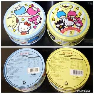 Sanrio Kt MM Pn Ts Xo 2017 鉄罐 曲奇餅 @$19 (全新, 直徑13cm, 到期日為19/3/22)