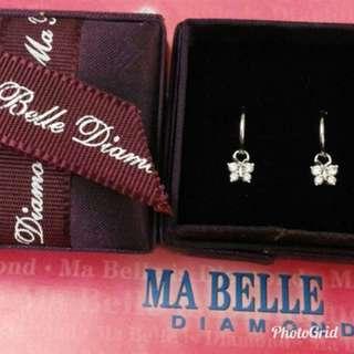 MA BELLE  18K白金鑽石蝴蝶耳環,8粒D10.25,有原單。