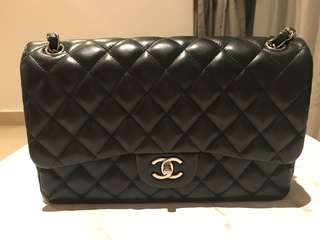 Chanel Jumbo Lambskin Silver Chain Bag