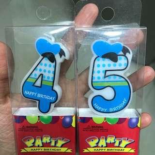 數字'4 & 5'蠟燭