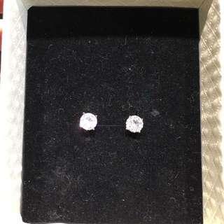 Swarovski 施華洛奇水晶 圓型玫瑰金耳環