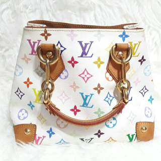 🙋👝Authentic Louis Vuitton Audra White Multicolored-Very Good💖💖💗