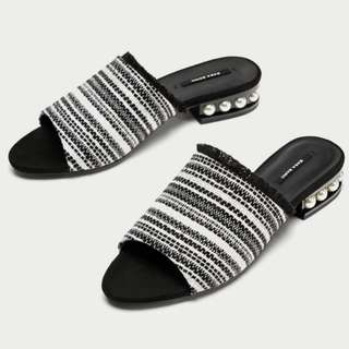 Wanted! Zara Slides With Faux Pearls Size 37/38